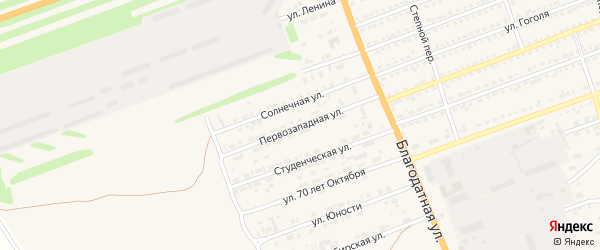 Западная 1-я улица на карте села Кулунды с номерами домов