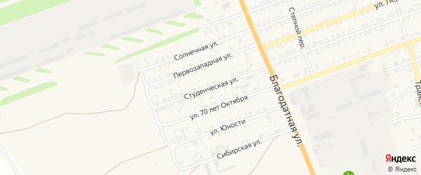 Студенческая улица на карте села Кулунды с номерами домов