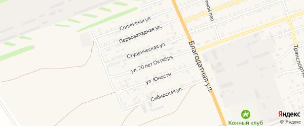 Улица 70 лет Октября на карте села Кулунды с номерами домов