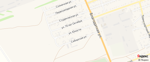 Улица Юности на карте села Кулунды с номерами домов