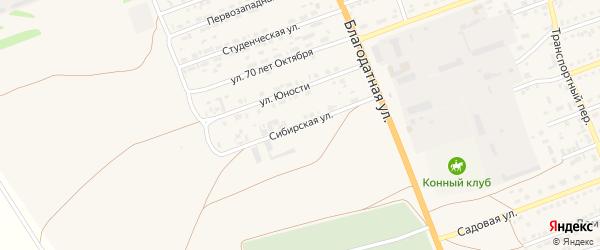 Сибирская улица на карте села Кулунды с номерами домов