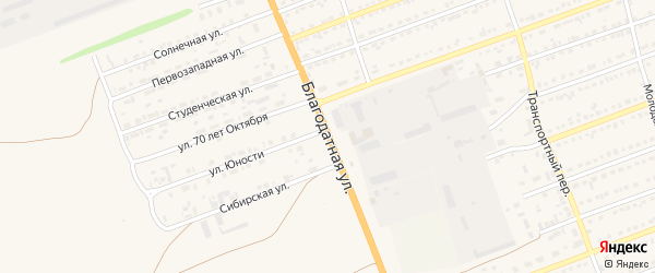 Благодатная улица на карте села Кулунды с номерами домов