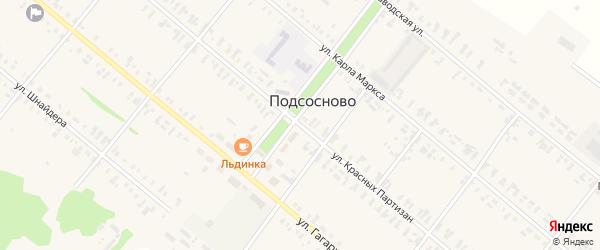 Улица Красных Партизан на карте села Подсосново с номерами домов