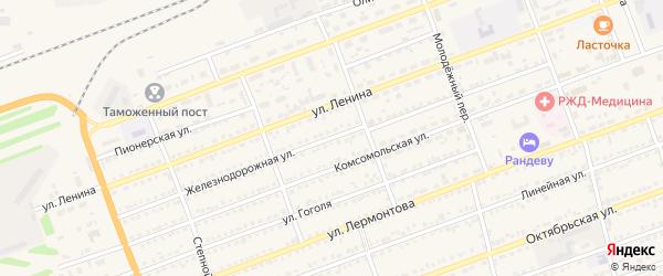 Железнодорожная улица на карте села Кулунды с номерами домов