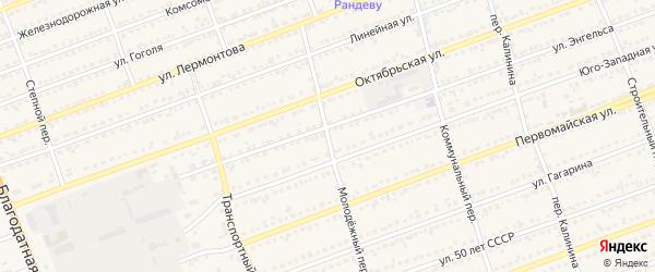 Молодежный переулок на карте села Кулунды с номерами домов