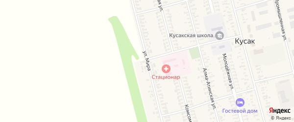 Улица Мира на карте села Кусака с номерами домов
