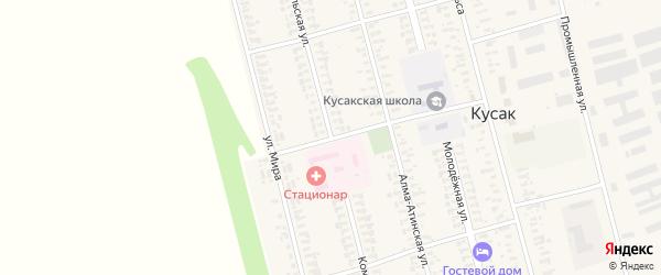 Комсомольская улица на карте села Кусака с номерами домов