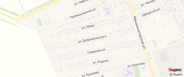 Улица Добровольского на карте села Кулунды с номерами домов