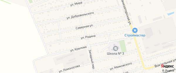 Улица Родина на карте села Кулунды с номерами домов