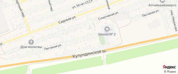 Песчаная улица на карте села Кулунды с номерами домов