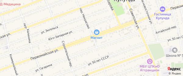 Первомайская улица на карте села Кулунды с номерами домов