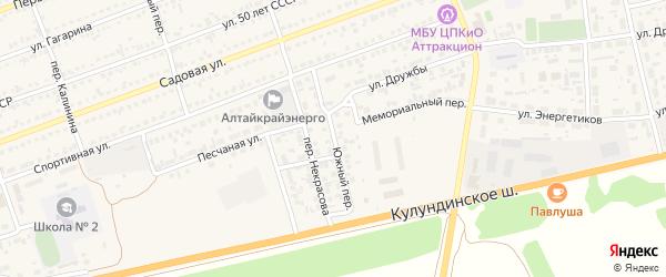 Южный переулок на карте села Кулунды с номерами домов