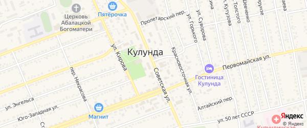 Советская улица на карте села Кулунды с номерами домов
