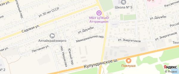 Мемориальный переулок на карте села Кулунды с номерами домов