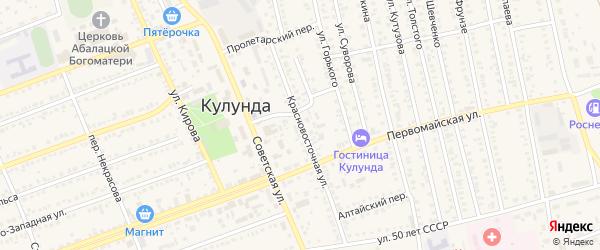 Красновосточная улица на карте села Кулунды с номерами домов