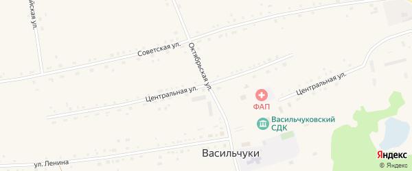 Центральная улица на карте села Васильчуки с номерами домов