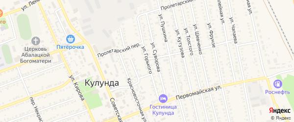 Улица М.Горького на карте села Кулунды с номерами домов