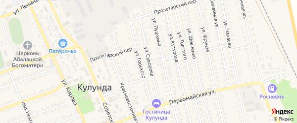 Улица Суворова на карте села Кулунды с номерами домов