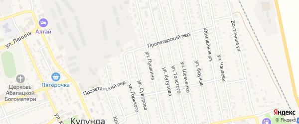 Улица Пушкина на карте села Кулунды с номерами домов