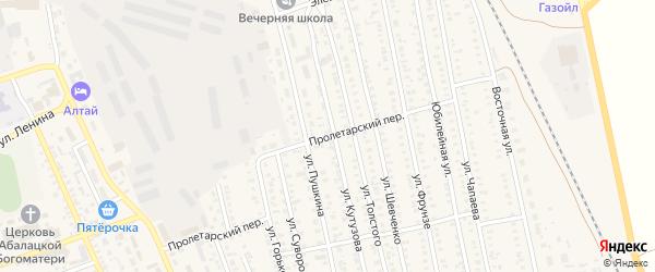 Пролетарский переулок на карте села Кулунды с номерами домов