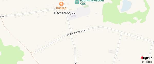 Делегатская улица на карте села Васильчуки с номерами домов