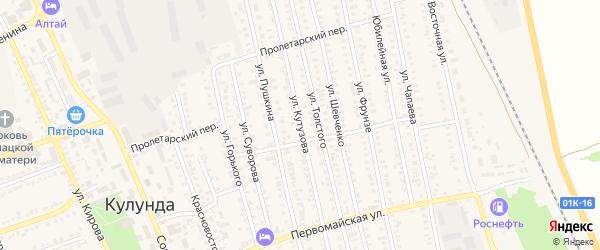 Улица Кутузова на карте села Кулунды с номерами домов