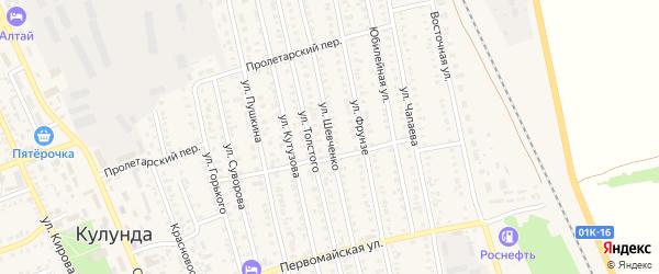 Улица Шевченко на карте села Кулунды с номерами домов