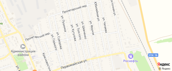 Безымянный переулок на карте села Кулунды с номерами домов