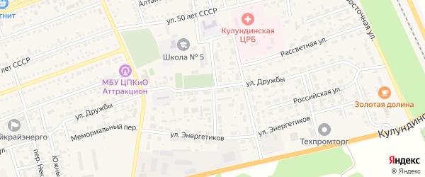 Улица Космонавтов на карте села Кулунды с номерами домов
