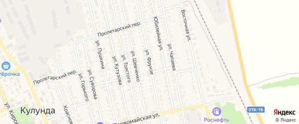 Улица Фрунзе на карте села Кулунды с номерами домов