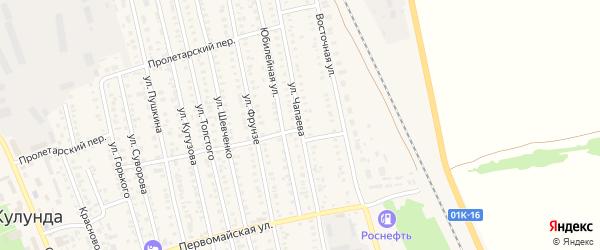 Улица Чапаева на карте села Кулунды с номерами домов