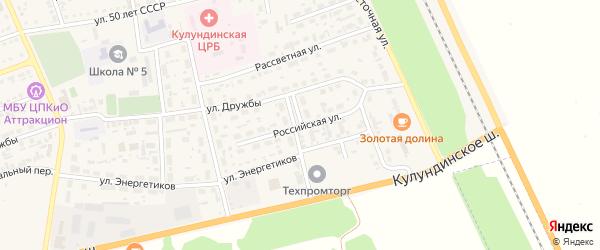 Российская улица на карте села Кулунды с номерами домов