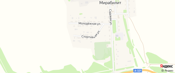 Спортивная улица на карте поселка Мирабилита с номерами домов