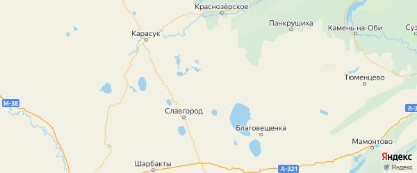 Карта Немецкого Национального района Алтайского края с городами и населенными пунктами