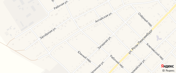 Рабочий переулок на карте села Ключи с номерами домов
