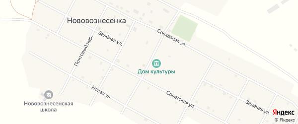 Кооперативный переулок на карте села Нововознесенки с номерами домов