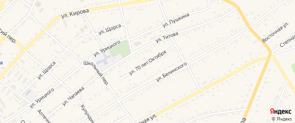 Улица 70 лет Октября на карте села Ключи с номерами домов