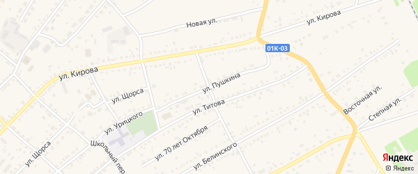 Базарный переулок на карте села Ключи с номерами домов