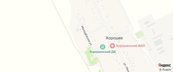 Молодежная улица на карте Хорошего села с номерами домов