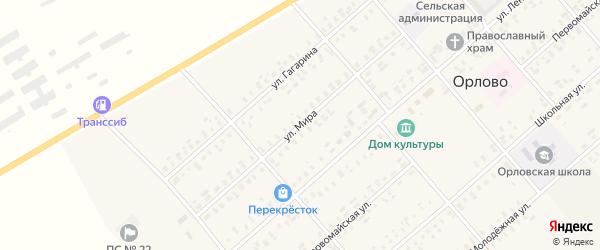 Улица Мира на карте села Орлово с номерами домов