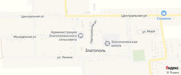 Партизанская улица на карте села Златополя с номерами домов