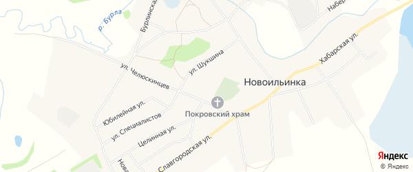 Карта села Новоильинки в Алтайском крае с улицами и номерами домов