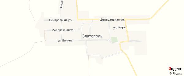 Карта села Златополя в Алтайском крае с улицами и номерами домов