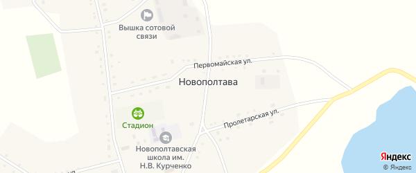 Первомайская улица на карте села Новополтавы с номерами домов