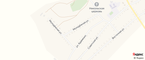 Молодежная улица на карте села Николаевки с номерами домов