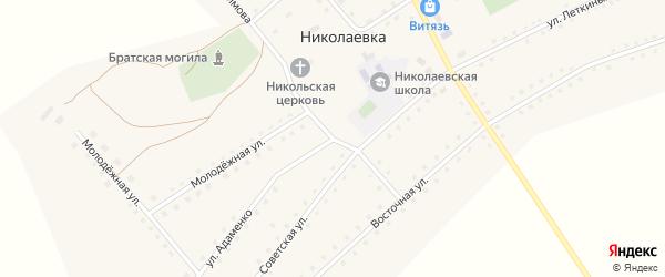 Улица Адаменко на карте села Николаевки с номерами домов