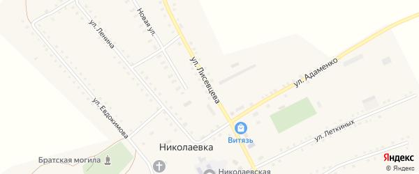 Улица Лисевцева на карте села Николаевки с номерами домов