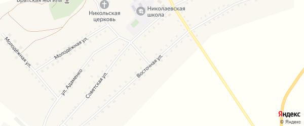 Восточная улица на карте села Николаевки с номерами домов