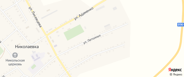Улица Леткиных на карте села Николаевки с номерами домов