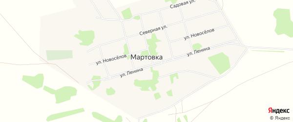Карта села Мартовки в Алтайском крае с улицами и номерами домов